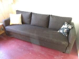 FRIHETEN (IKEA) sofa-bed, d.brown fabric