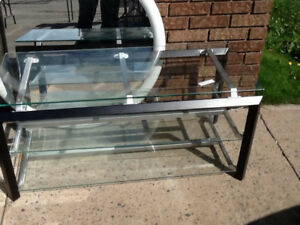 tv glass table with 3 shelves