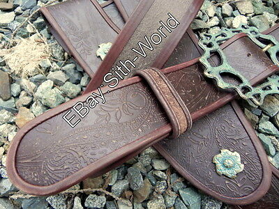 JACK SPARROW OST PAISLEY EMBOSSED LEATHER BALDRIC BELT BUCKLE COSTUME  ](Jack Sparrow Belt Buckle)
