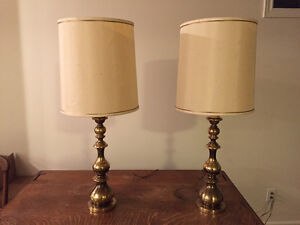Vintage Solid Brass Table Lamps with Shades London Ontario image 1
