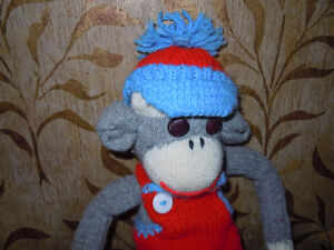 stuffed sock monkeys with knitted outfits Peterborough Peterborough Area image 2