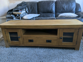 Solid oak TV stand. 60inches wide.