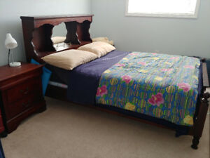 Solid wood headboard/bedframe with 2 night tables