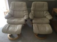 Ekornes Stressless Reclining swivel armchair cream leather with footstools