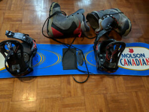 mens snowboard 158cm, bindings & boots