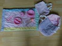 Baby doll accessories, toy baby bath.