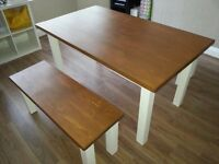 Handmade solid wood table & 2 x benches