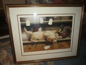 """Who Me?"" by Mia Lane - Golden Lab Puppy Painting Framed"
