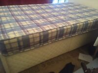 Free double bed and divan base (with storage compartment)