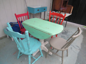 Shabby chic drop leaf table and chairs