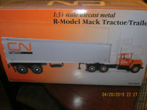 truck and trailer cn rail die cast 1/34 scale