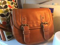 Zara Girl: small long strap handbag 17cm / 14cm leather look, tan colour.