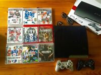 PS3 with 2 controllers and 10 games