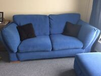 DFS blue 3 and 2 seater sofas with pouffe