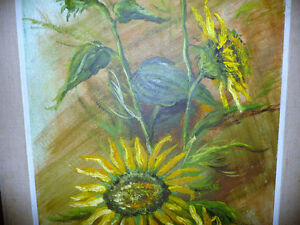 "Garden Study by O. J. Coghlin ""Sunflowers"" Original Oil Painting Stratford Kitchener Area image 4"