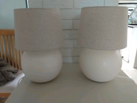 Two Gorgeous Laura Ashley Cream Ceramic Lamps with Natural Shades