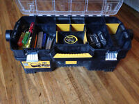 Dewalt tool box, Stanley fat max tap and a bunch of hand tools