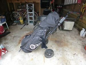 Ram FX Black golf clubs, Cart, and Target Line Practice set