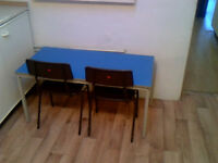 Blue Easy Clean Children's Desks with Chairs