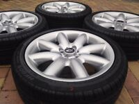 "Genuine 17"" BMW Mini Cooper S Clubman Refurbished Alloy wheels & Brand New 205/45/17 Tyres - Silver"