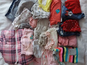 OVER 50 PIECES OF CLOTHING 0-6 MONTHS SWADDLES AND COATS