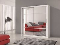 BEAUTIFUL HIGH QUALITY MIRRORED DOUBLE DOOR SLIDING WARDROBE RRP £499