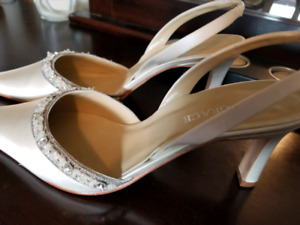 Brand New, satin, ivory, beaded, shoes 7.5