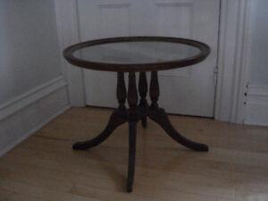Vintage Mahogany Glass Top Coffee Table