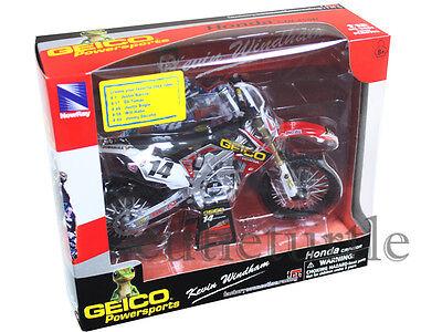New Ray 57563 Geico Honda CRF 450R Dirt Bike 1:12 Kevin Windham #14