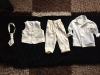 Boys 4 piece Ivory suit 6-9 months