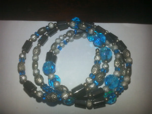 New silver and blue magnetic bracelet