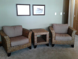 Genuine rattan/wicker chairs and couch set with side table