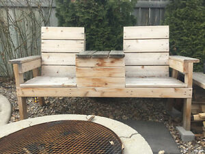 Cedar two seater patio seat with middle table combo