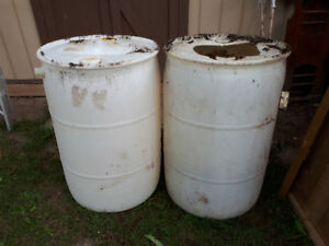 Two 55 gallon food grade barrels