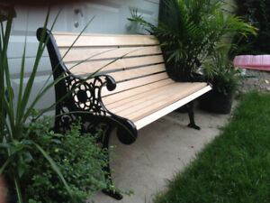 2 Garden Benches - Cast Iron & Solid Maple