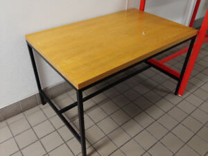 wood table top with steel leg 48 x 30 x 29 1/4H