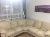 Collection Dual Facing leather corner sofa ivory used in perfect condition