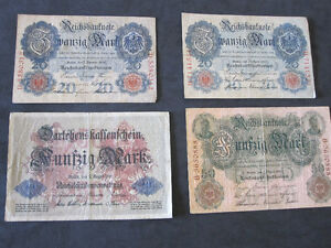 4 Germany Reichsmark Banknotes