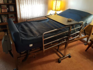 Professional Hospital Bed, Air Mattress and Serving Table