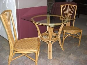 Wicker and Glass Table with Two Chairs