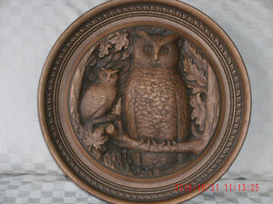 WOOD OWL PLAQUE - KARL ROTHAMMER