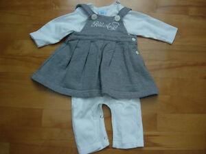 Ensemble robe grise et cache-couche long - Taille 6 mois