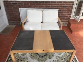 Stylish IKEA Oak & Slate Coffee Table