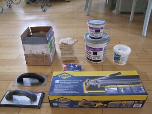 Stone and Porcelain Tiles and Tools Lot, Grout, Adhesive Etc.