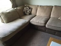 Gorgeous Brown/Beige Corner Suite with 2 Seater Sofa