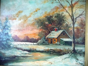 "Antique Early French Artist Paul Welsch ""Paysage d'Hiver"" 1927 Stratford Kitchener Area image 3"