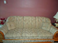 Vintage Roxton Couch and Chair with solid maple trim
