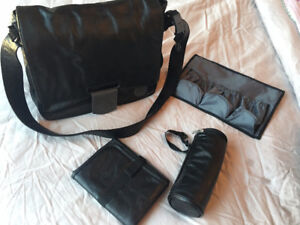 Black Faux Leather Messenger Diaper Bag by Lassig