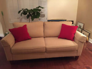 Beige and Red Striped Sofa Bed