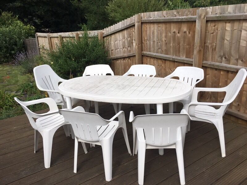 8 Seat White Plastic Garden Table Chair Set In Ipswich Suffolk Gumtree
